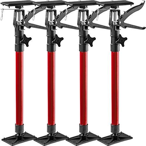 TecTake Türspanner Teleskopstange | stufenlos verstellbar | leichte Handhabung - Diverse Modelle (4er Set rot| Nr. 402616)