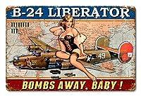 リベレーター爆弾アウェイベビー航空ピンナップ、ブリキサインヴィンテージ面白い生き物鉄の絵金属板ノベルティ