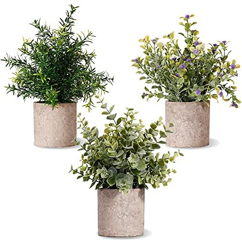 Piante Artificiali in Vaso, 3 Pezzi Piante Finte Mini con Vasi Decorazione da Interno e Esterno Casa Davanzale Cucina Scrivania - 15 x 24cm