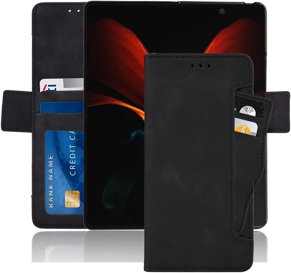 Hackers' Galaxy Z Fold 2 5G Case, Galaxy Z Fold 2 Wallet case, Classic Leather Wallet Foldable Case with Credit Card Holder Slots Flip Wallet Case for Samsung Galaxy ZFold2 5G - (Black)