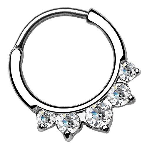 Piersando Universal Piercing Ring Clicker für Septum Tragus Helix Ohr Nase Lippe Brust Intim Vintage Tribal mit Strass Kristall Spitzen Silber Silber Clear