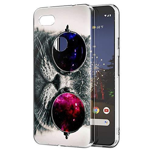 Eouine Capa para Google Pixel 3a XL, capa para celular transparente com padrão ultrafino, à prova de choque, gel macio, TPU de silicone, capa traseira para smartphone Google Pixel 3a XL (gato)