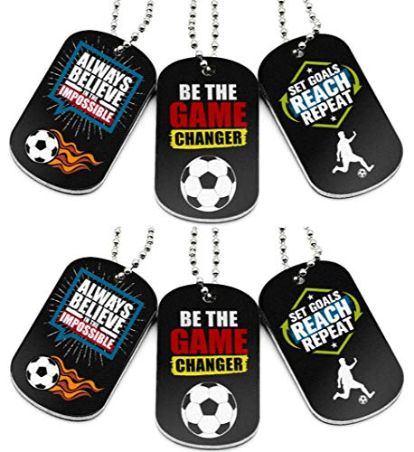 (6-Pack) Soccer Motivational Dog Tag Necklaces - Soccer Gifts in Bulk for Soccer Team Uniform Accessories - Soccer Themed Party Favors Sports Prizes Awards for Youth Teen Boys Girls Adults Men Women