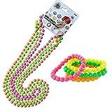 iLoveCos 80er Party Kleid Zubehör Kunststoff Neon Mehrfarbig Perlenkette Perlen Halsketten...