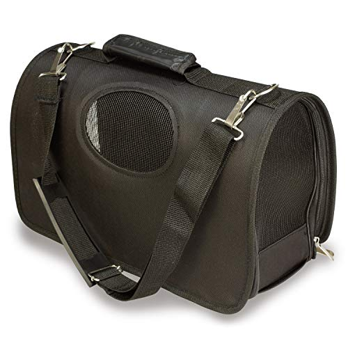 Arquivet Bolsa Transportín negro para pequeñas mascotas - Talla S: 37 x 23 x 14 cm - Perros adultos, cachorros, gatos y otros - Mochila con rejilla de ventilación para perros y gatos