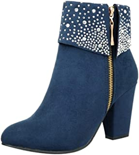 a4fc471d5284 Womens Sexy Crystal Ankle Boots Thick Square Heels Side Zipper Party Booties  Warm Round Toe Shoes