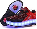 SRD-USB Rechargeable Clignotante Chaussures à roulettes, 25 Colorés LED Roller Chaussures de Skateboard Baskets Lumineuse avec Roues Sport Multisports Gymnastique Mode pour Garçons et Filles Enfants