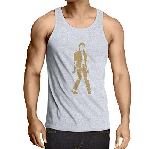 lepni.me Camisetas de Tirantes para Hombre Me Encanta M J - Rey del Pop, 80s, 90s Músicamente Camisa, Ropa de Fiesta (Medium Blanco Oro)