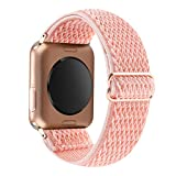 YOSWAN Stretchy Solo Loop Strap Compatible with Apple Watch Bands 38mm 40mm, Adjustable Soft Nylon Stretch Sport Elastics Women Men Wristband for iWatch Series 6/5/4/3/2/1 SE (Coral, 38mm/40mm)