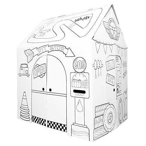Easy Playhouse Garage - Kids Art & Craft for Indoor & Outdoor Fun, Color Favorite Garage Items– Decorate & Personalize a Cardboard Fort, 32' X 26. 5' X 40. 5' - Made in USA, Age 2+ (B07WM9TNZ2)