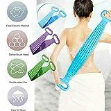 MGQ Silicone Back Scrub - Bath Shower Silicone Body Brush Bath Belt Exfoliating Back Brush Belt Clean and Back Massage,Easy to Clean, Lathers Well (Purple)