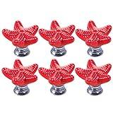 YAVSO Pomos y Tiradores, 6pcs Ceramica Pomos Armario Estrella de Mar Tiradores de Muebles para Cajones, Armario, Puertas, Alacena, Gabinete (Rojos)