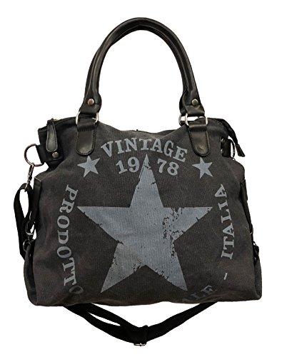 Star Bag Vintage - Bolso de tela para mujer, diseño de estrella, color Negro, talla Maße: L: 45cm H: 42cm B: 18cm
