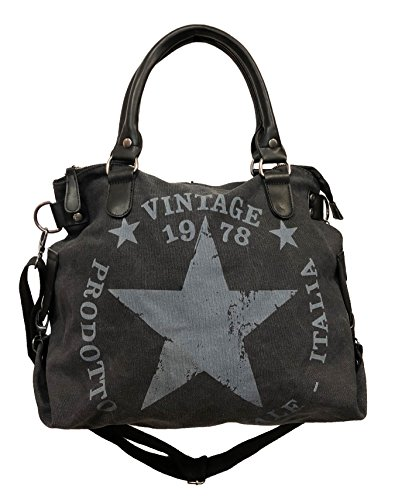 JameStyle26 Star Bag Vintage Stern Damen Stamp Tasche Fashion Shopper Henkeltasche Canvas Stoff, Schwarz, Maße: L: 45cm H: 42cm B: 18cm