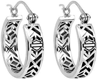 Women's Earrings, Aztec Bar & Shield Hoops, Silver HDE0371