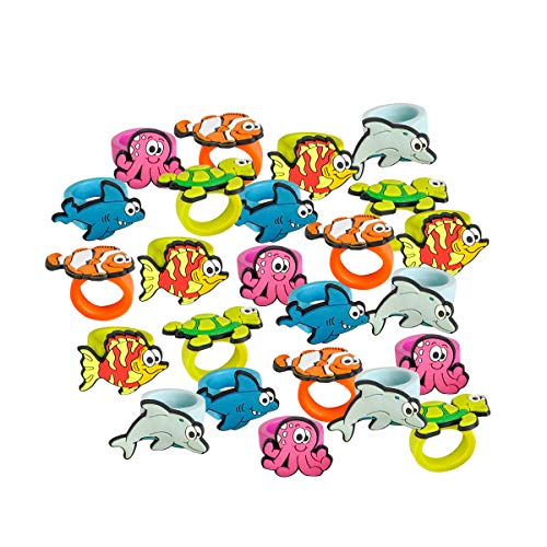 Kicko Sea Life Rubber Rings - Pack of 24 1 Inch Party Favor Rings for Children Fashion Accessory, Pretend Play, Cake Toppers, and Marine themed Party Supplies