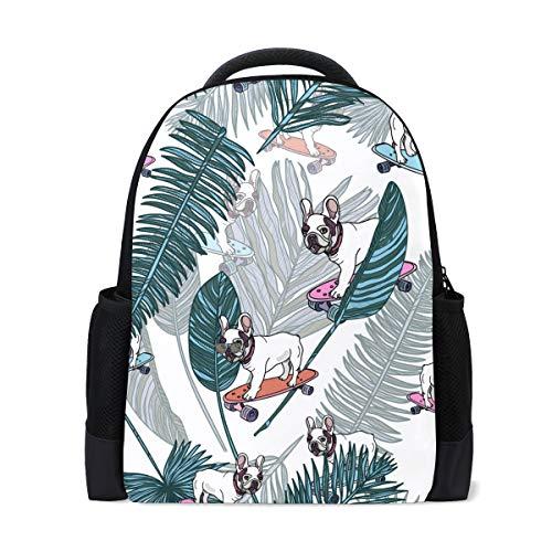ISAOA Kinder Rucksack Schultasche für Mädchen Jungen Bulldog auf Skateboard Casual Rucksack Daypack Laptop Rucksäcke