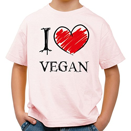 I Love Vegan Fun Kinder T-Shirt_rosa_158/164