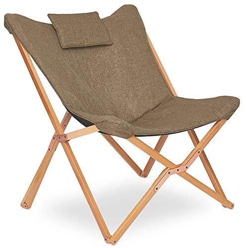 Chaise Longue Pliable Fauteuil Relaxation Pliante Chaise de Plage Design en Tissu Bois pour Exterieur Jardin Tressée Patio Salon Chambre Marron