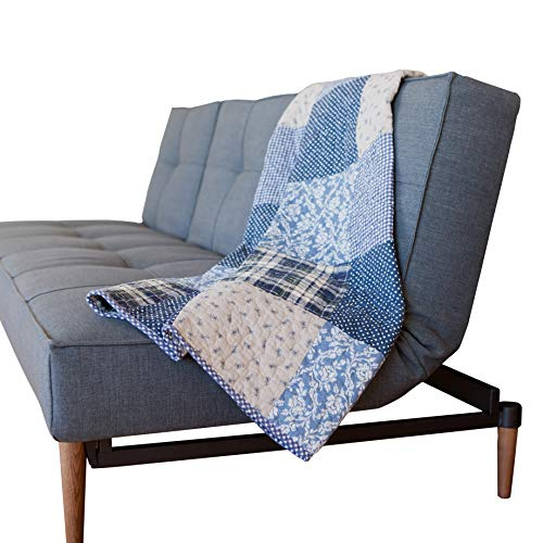 SLPR Blue Symphony Cotton Patchwork Quilted Throw