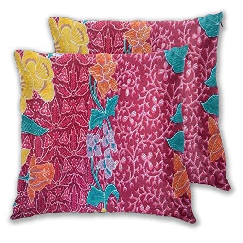 ALLMILL Juego de 2 Funda de Cojín, Flores Coloridas en el Estilo del Batik balinés Impresión de Imagen Tradicional Oriental Funda de Almohada Cuadrado para Sofá Cama Decoración para Hogar,60x60cm