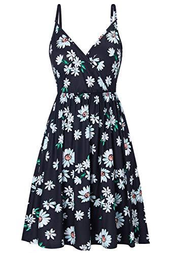 Sommerkleider Damen Vintage V-Ausschnitt Trägerkleid Verstellbaren Spaghettiträger Rückenfreies Blumen Strand Kleider A-Linie Abendkleid...