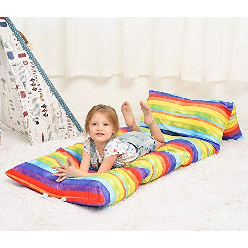 Ohnanana Kids Floor Pillows Bed Cover, Soft Plush,Perfect for Sleepovers Party,Lounger, Seating,Nap Mat,Reading Nook,Playing,Chair.Cover Only (Rainbow Stripe)