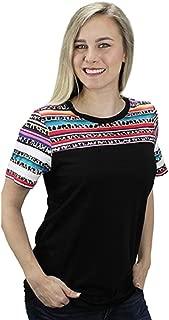 Sunshine&Rodeos Leopard Cheetah Serape Aztec Short Sleeve Shirt Top Black