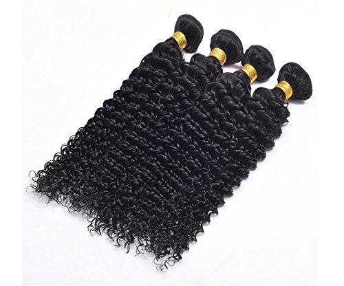 XYLUCKY 4 paquets Pérou Cheveux profondes Expansions de tissage Boucles Cheveux Cheveux 100% Cheveux humains Naturel Noir Couleur , 8 10 12 14
