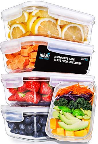Contenedores De Vidrio Para Comida De Tapa Transparente Con Respiraderos Para Vapores - Libres De BPA - Aptos Para Microondas, Congelador, Horno y Lavavajillas - Pack de 5 + 1 Tapa Gratis