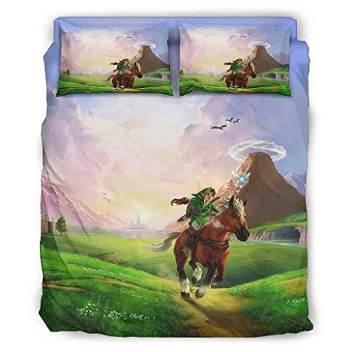 Ouniaodao 4 Pcs Zelda Duvet Cover Set Duvet and Pillow Cases Bedspread - Soft & Comfort Bedding Sheet Set Cover white 175x218cm
