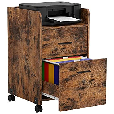 IRONCK Lateral Filing Cabinet Industrial Printer Stand on Wheels Home Office Cabinet with 2 Drawers, Mobile Vertical File Cabinet, Vintage Brown