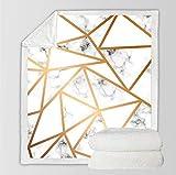 Manta Polar Felpa de Sofá Patrón de mármol geométrico Amarillo Blanco Mantas de Lana para sofá/Cama Manta de Felpa para Todas Las Estaciones para Adultos y niños 70 cm x 100 cm
