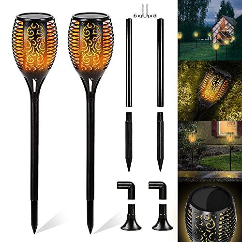 Farolillo solar de jardín con 2 bombillas LED solares impermeables para exteriores, decoración de jardín, patio, caminos yard
