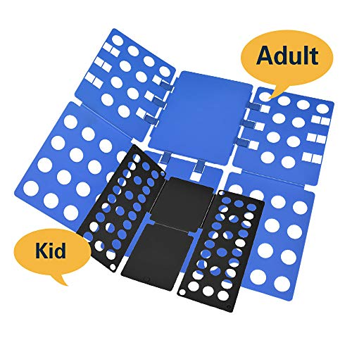 PetOde Shirt Folder Shirt Folding Board Clothes Folder Easy and Fast Flipfold for Adult and Kids Combination Set (Blue and Black)