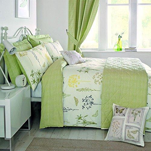 Dreams & Drapes - Botanique, algodón poliéster, Verde, Duvet Set: King