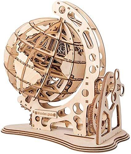 Bloques construcción miniatura Modelo de globo de madera 3D, rompecabezas de madera de bricolaje Kit de construcción de madera de construcción de madera Corte de láser mecánico globales for niños adol
