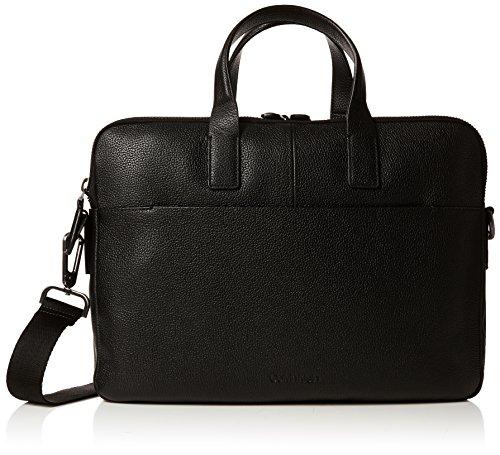 Calvin Klein Jeans Essentieel Leer 2 Gusset Laptop Tas, Heren Zwart, 42x8x41 cm (B x H T)