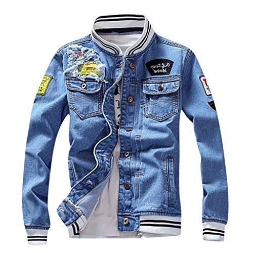 MAYOGO Denim Baseball Jacke Herren Blau Jeans Jacke Casual College Jacke Cowboy Jacke Herren Jacke Übergangsjacke Dünne Jacken (Blau, 4XL)