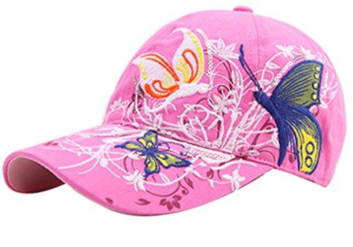 Belsen Belsen Mädchen Schmetterlings-Stickerei- Vintage Baseball Cap Snapback Trucker Hat (rosa)