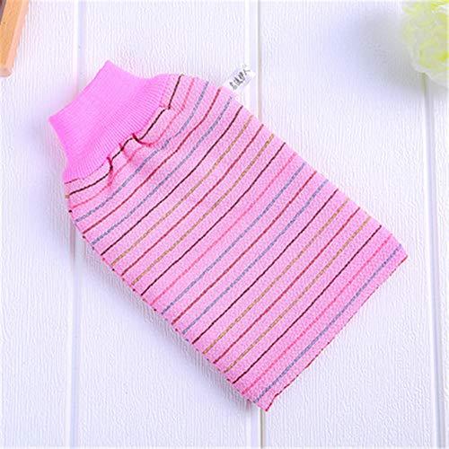 DuangDuang sfregamento artefatto striscia asciugamano da bagno bifacciale pulizia della pelle scrub asciugamano forte decontaminazione graniglia guanti da bagno, A righe rosa., 5.5 * 9.45in
