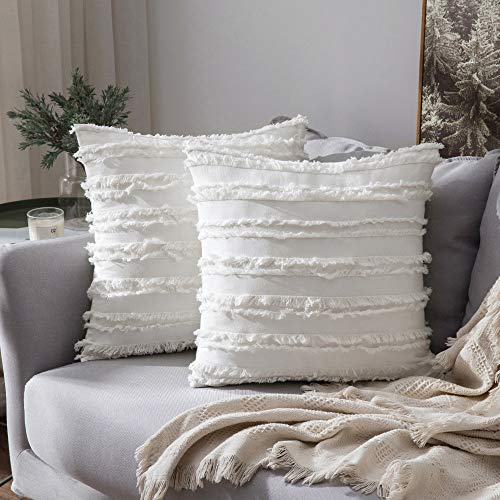 MIULEE Set of 2 Decorative Boho Throw Pillow Covers Cotton Linen Striped Jacquard Pattern Cushion Covers for Christmas Decor Sofa Couch Living Room Bedroom 18x18 Inch Ivory White