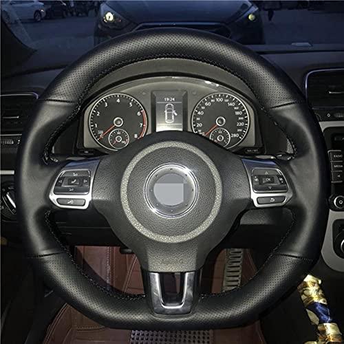 MDHANBK Cubierta de Volante de Coche de Cuero Genuino Negro Cosida a Mano DIY, para Volkswagen Golf 6 GTI MK6 Polo GTI Scirocco R Passat CC R-Line 2010