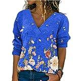 Elesoon Camisa de manga larga para mujer con estampado de hojas de flores grandes, con cuello en V, talla grande, A-azul, 36