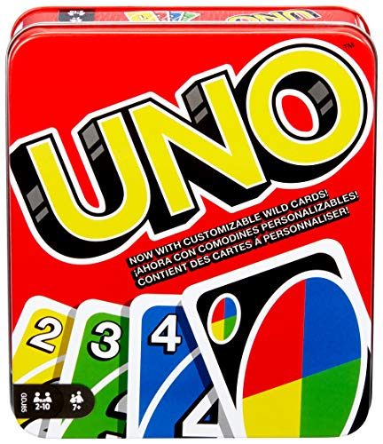 Mattel Games UNO: Family Card Game, with 112 Cards in a Sturdy Storage Tin, Travel-Friendly, Makes a...