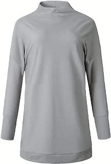 Women's Relaxed Cotton Long Sleeve Mock Turtleneck Mid Length Sweater Dress