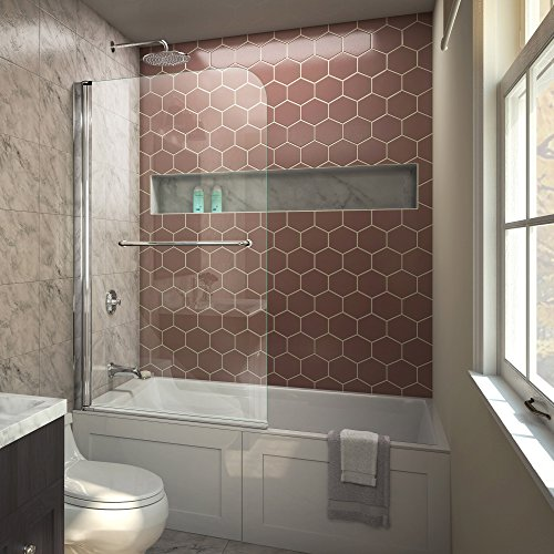 DreamLine Aqua Swing 34 in. W x 58 in. H Frameless Tub Door in Chrome, SHDR-3734580-01