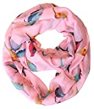 Peach Couture Vintage Finch Bird All-Over Print Light Sheer Infinity Loop Scarf (Grey)