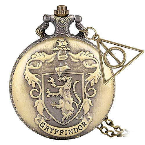 Reloj de Bolsillo de Cuarzo de laEscuela Hogwarts de Bronce Retro,Collar analógico, Cadena...