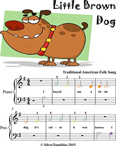 Little Brown Dog Beginner Piano Sheet Music with Colored Notes